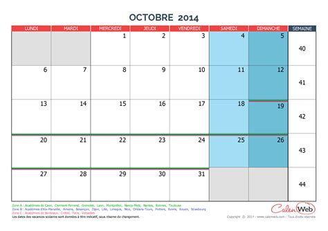 Calendrier Octobre 2014 Calendrier Mensuel Mois D Octobre 2014 Avec Jours F 233 Ri 233 S