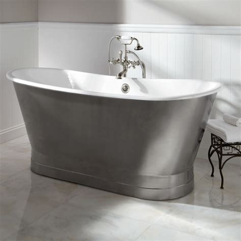 stainless bathtub 68 quot rowley cast iron bateau tub with stainless steel skirt