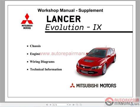 online auto repair manual 2005 mitsubishi lancer evolution auto manual mitsubishi lancer evo ix 2005 workshop manual supplement auto repair manual forum heavy