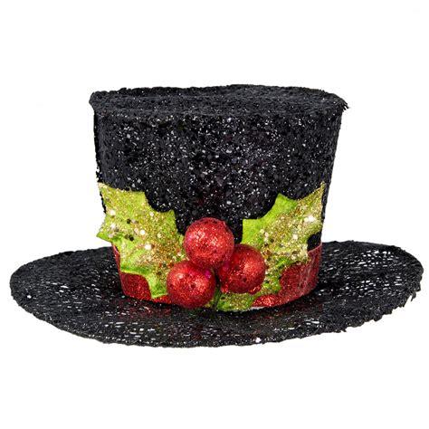 hat decoration 5 quot glitter black top hat decoration 82045bk