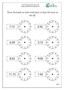time to the quarter hour 2 time maths worksheets for