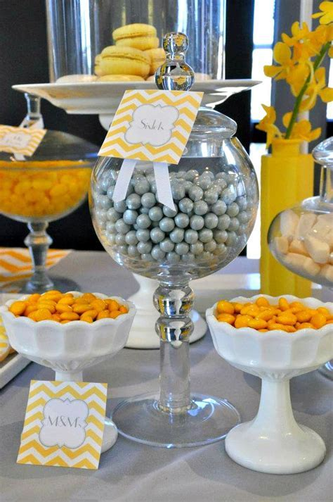 Bridal Shower Decor Package. Yellow & Gray Chevron