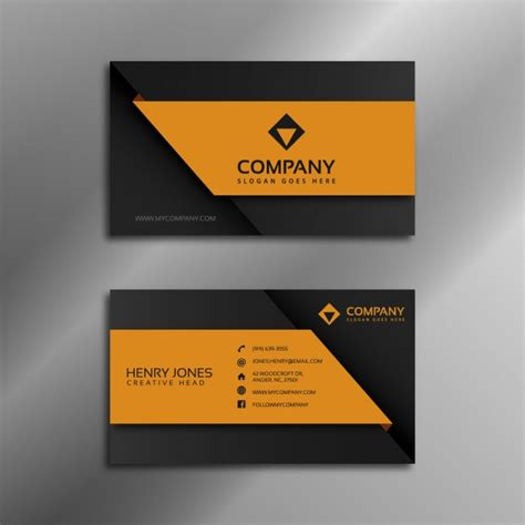 black orange business card template black and orange business card vector free
