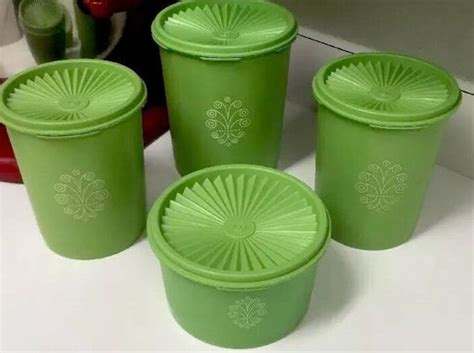 Tupperware Apple vintage tupperware 4 apple green canister set with