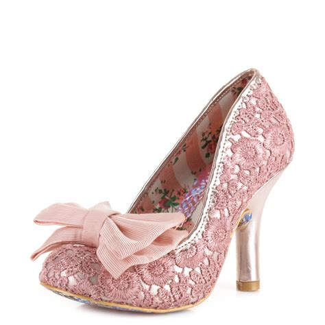 womens irregular choice mal e bow pink gold high heel