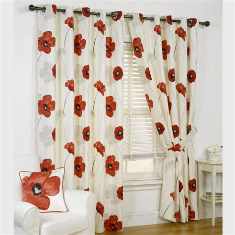 opium poppy floral print eyelet lined curtains