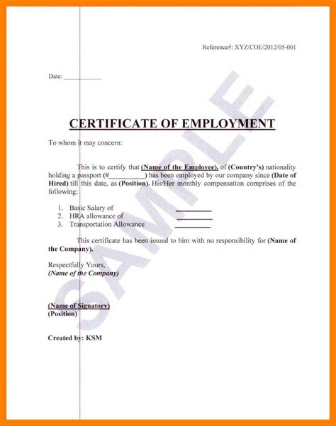 20 Exle Of Certificate Of Employment The Snohomish Times Certificate Of Employment Template
