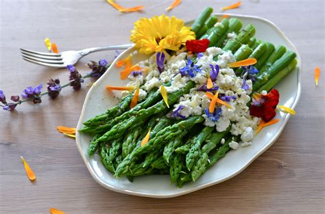 Green Asparagus Goat Cheese And Flowers With An Orange | green asparagus goat cheese and flowers with an orange