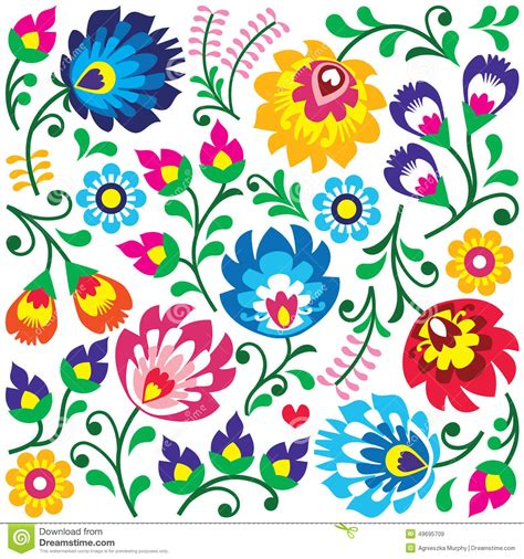 pattern art images floral polish folk art pattern in square wzory lowickie