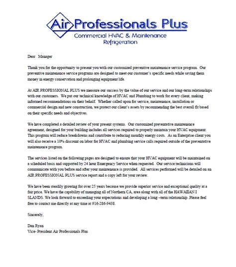Introduction Letter For Business Services air professionals plus hvac company introduction letter