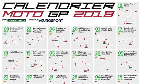 Calendrier Moto Gp Calendrier Motogp 2018 Dates Horaires Et Circuits Des