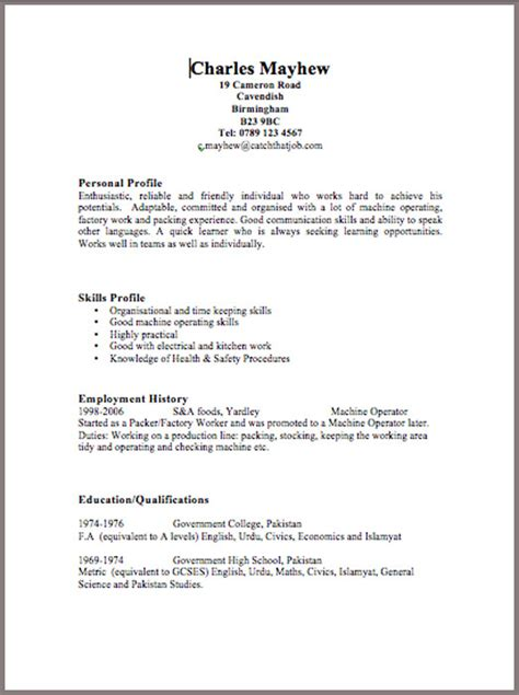 Resume Templates Uk Word Cv
