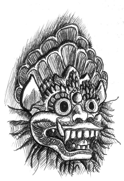 bali barong sketch by artnlou on deviantart