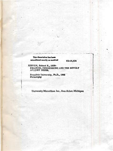 Brandeis Mba Requirements by Robert H Kirven Emanuel Swedenborg And The Revolt Against