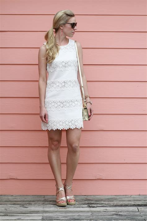 White Wedges Dress lwd lace shift dress wedge sandals gold accessories