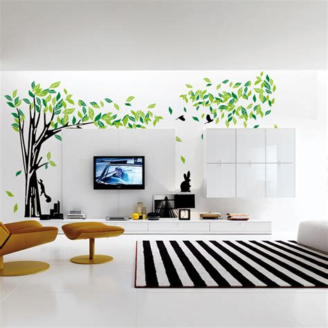 Home Decoration Stickers Aliexpress Buy Large Green Tree Wall Sticker Vinyl Living Room Wall Stickers Home Wall