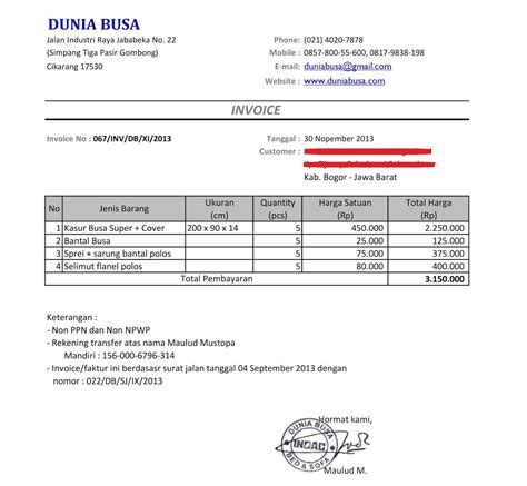 Contoh Invoice by Contoh Invoice Dalam Format Excel Viral News Top