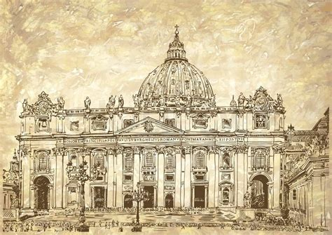 fondo di roma st s cathedral rome vatican italy drawing