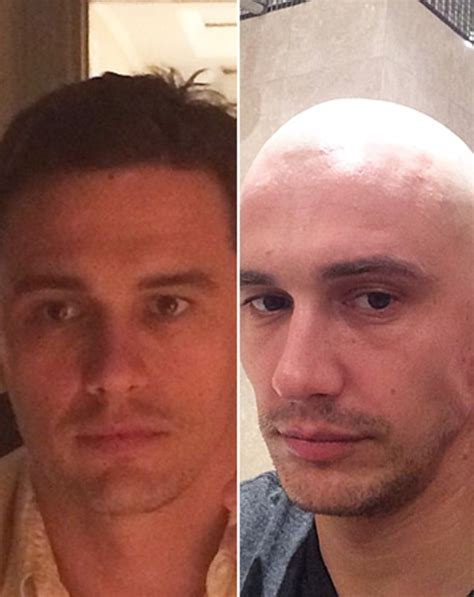hairy before and shaved photos james franco shaves head goes bald see before and after
