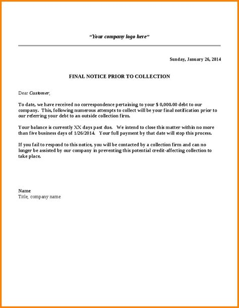 Business Letter Template Collections collection notice sle collection letter template