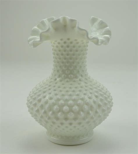 Hobnail Vase by Fenton Glass Hobnail Milk Glass Ruffle Top Vase 7 5