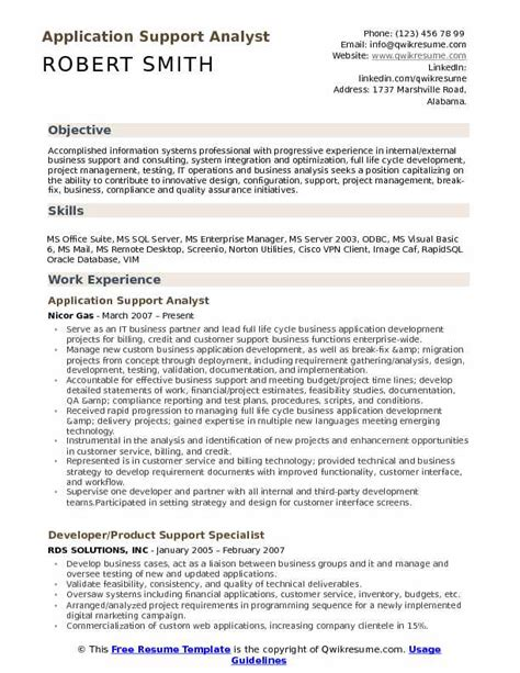 Application Support Analyst Cover Letter by Application Support Analyst Resume Resume Ideas