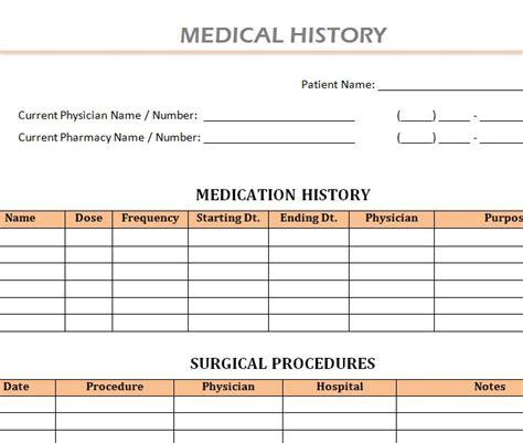 health history template history template 187 template