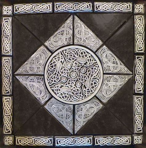Handmade Decorative Tiles - decorative celtic knot handmade tile set by earthsongtiles
