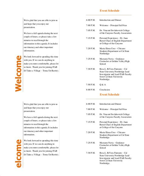 Event Program Template by Event Program Template 11 Free Sle Exle Format
