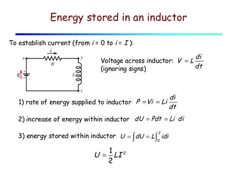 lecture 27 inductors stored energy lr circuits