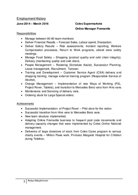Resume Exle For Woolworth Resume Sle For Coles Augustais