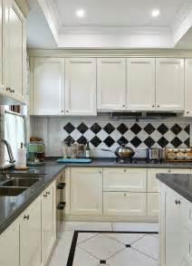 Kitchen Cabinets Black And White white kitchen cabinets black and white tile backdrop