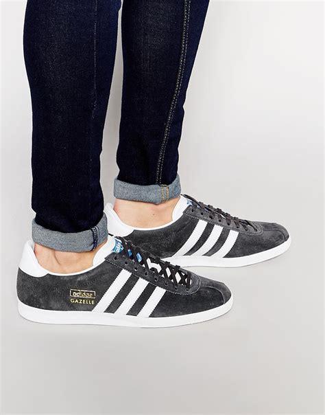 lyst adidas originals gazelle og trainers   gray