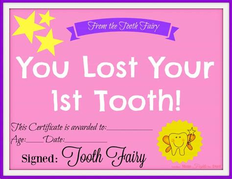 28 tooth fairy certificate template free oh my