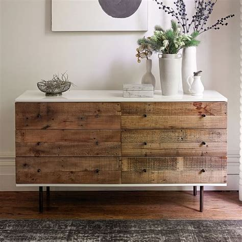Reclaimed Wood Dressers For Sale by Reclaimed Wood Lacquer 6 Drawer Dresser West Elm