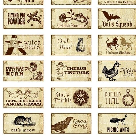 miniature dollhouse fantasy potion labels i for tiny witch