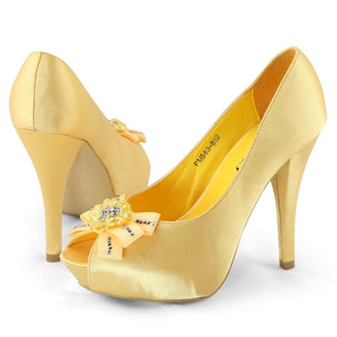 shoezy womens blue yellow peep toes bow diamante evening