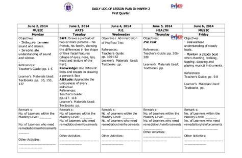 lesson plan template deped k to 12 grade 2 dll mapeh q1 q4 q4