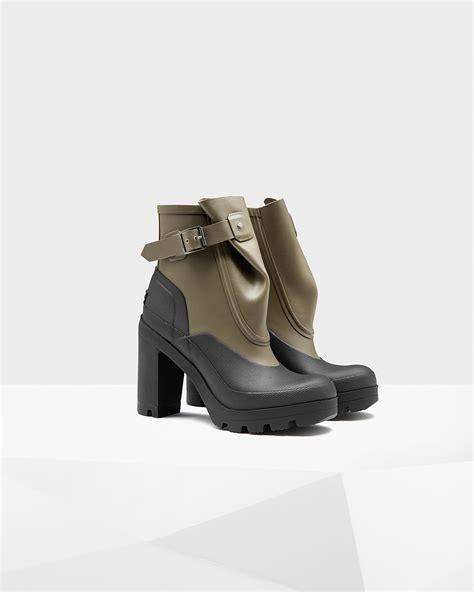 High Heels Original Catenzo 192 original galosh high heel ankle boots in green lyst