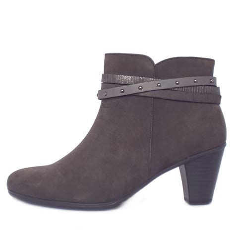 womans grey boots gabor solero s mid heel fashion ankle boots in