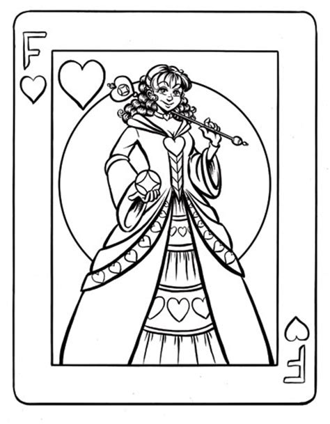 coloring page queen of hearts free coloring pages