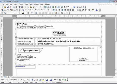 format kwitansi word format kwitansi