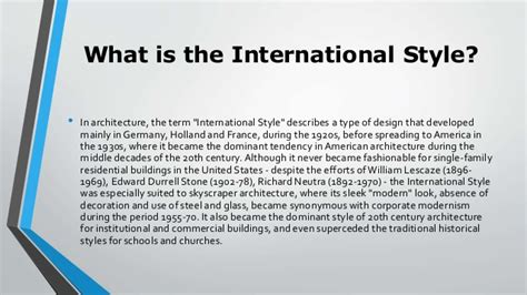 what is the meaning of architecture international style architecture