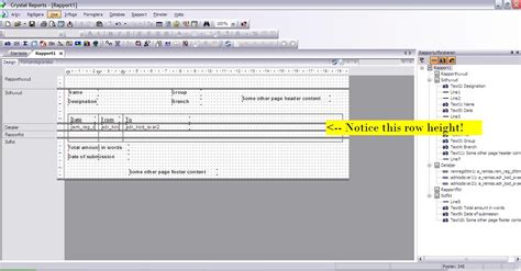 layout row height visual studio 2010 crystal report displaying only one