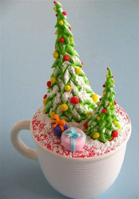 christmas theme cake in a cup cupcake with christmas trees