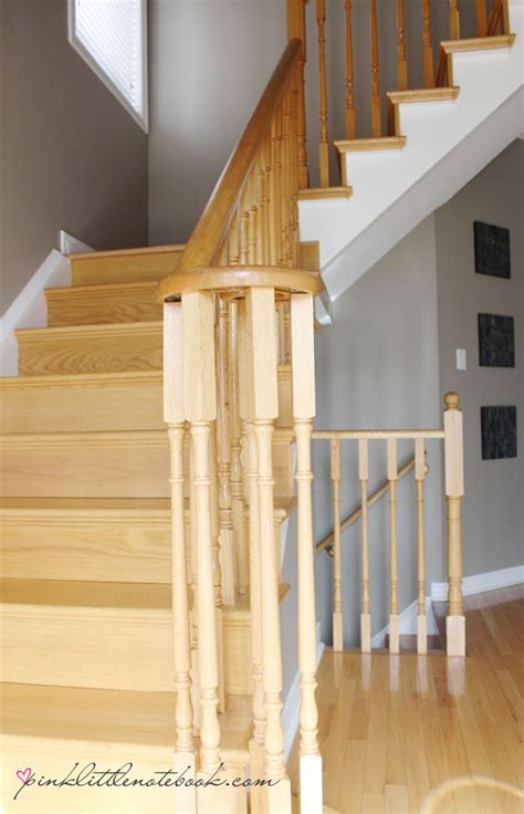 Sanding Banister Ordinary Oak To Simply White My Staircase Reveal Pink