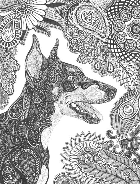 botanical lithograph grayscale coloring book books paisley doberman pinscher by celerie on deviantart