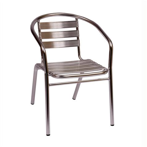 Stackable Aluminum Patio Chairs Bfm Seating Parma Ms0021 Stackable Outdoor Aluminum Chair With Arms