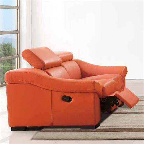orange loveseat 8021 reclining loveseat in orange modern loveseats