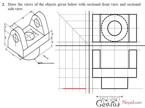 sectional orthographic engineering drawing tutorials orthographic drawing with